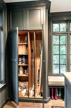 Closet For Cleaning Supplies Mops Brooms And Vacuum S