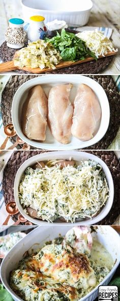If you love spinach artichoke dip, then this Spinach and Artichoke Chicken recipe might just be your new favorite dinner. If you love spinach artichoke dip, then this Spinach and Artichoke Chicken recipe might just be your new favorite dinner. Spinach Artichoke Chicken, Chicken Spinach Recipes, Spinach Dinner Recipes, Best Dinner Recipes Ever, Easy Chicken Dinner Recipes, Healthy Chicken Artichoke Recipe, Meals With Spinach, Meat Dinner Ideas, Easy Chicken Dishes