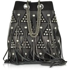 Jerome Dreyfuss Handbags Popeye Black Patchwork Bucket Bag w/Studs and... (£995) ❤ liked on Polyvore featuring bags, handbags, shoulder bags, black, leather shoulder handbags, hand bags, leather shoulder bag, leather hand bags and leather fringe handbags