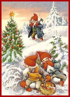 "Photo from album ""Lars Carlsson"" on Yandex. Norwegian Christmas, Old Christmas, Christmas Gnome, Very Merry Christmas, Vintage Christmas Cards, Beautiful Christmas, Vintage Cards, Scandinavian Gnomes, Scandinavian Christmas"