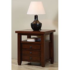 @Overstock - Update your home decor with a new end table  Map side table is finished in a walnut cherry color  Living room furniture features metal extension drawer glideshttp://www.overstock.com/Home-Garden/Walnut-Cherry-Navigator-Side-Table/4083051/product.html?CID=214117 $199.49  Place along either side of TV stand