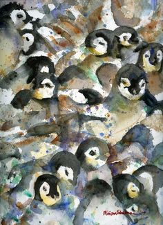 "Penguin Nursery III, Abstract #Watercolor Art | Miriam Schulman  @Lindsey Loudermilk ""Don't push me cause I'm close to the edge!"" :) missss you."