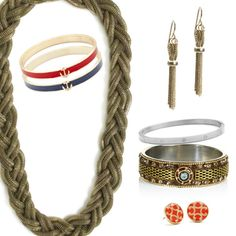 Classic To The MAX!     This set includes:  - Athena Necklace  - Cartier Amber Bangle  - Cherie Silver Bracelet  - Livi Navy Bangle  - Livi Scarlet Bangle  - Chloe Earrings  - Allie Earrings