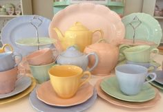 1950s Retro Pastel Tea Party! For something a little different, we can provide authentic 1950s all-pastel china for up to 20 guests and growing, including tea cup sets, teapots, tiered cake stands, platters and serving pieces. The pastels are pink, blue, green and yellow!