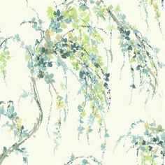 Blue and Yellow Lovebirds Floral Wallpaper