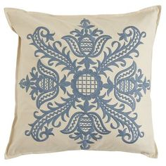 Embroidered Medallion Pillow - Blue