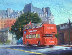 Once in Victoria, take a ride on a Hop on Hop off bus to several destinations. The background is one of the most popular landmarks in Victoria, The Empress Hotel. Double Decker Bus, The Empress, Destinations, German, Take That, Victoria, Journal, Fine Art, Popular