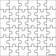 Vector: Jigsaw puzzle blank template, 36 pieces