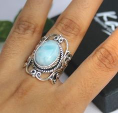 mens gemstone ring cabochon larimar gift for mens ring rectangle larimar gift ring Genuine dominican pectolite ring heavy mens ring birthday gift ring solid 925 sterling silver ring