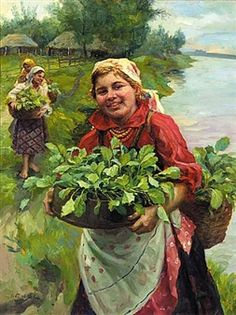 Russian Beauty Carrying Vegetables, by Fedot Vasilievich Sychkov