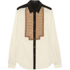 Etro Beaded stretch-silk blouse (4.390 ARS) ❤ liked on Polyvore featuring tops, blouses, shirts, blusas, beaded shirt, embroidered shirts, shirt top, embroidery shirts and shirt blouse