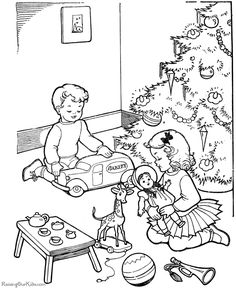 christmas coloring pages printable | ... for christmas you can too these pages of kids having fun at christmas