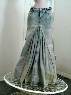 Mermaid jean skirt bohemian dark wash by RenaissanceDenim on Etsy