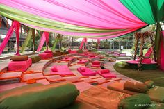pink and green canopy, colorful canopy, pink seating, pink low seating, pink and green themed decor