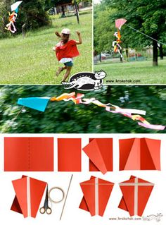 diy kite- for cabin time on a windy day Weather Activities For Kids, Science Activities, Children Activities, Kindergarten Art Lessons, Kindergarten Crafts, Preschool, Childrens Workshop, Diy For Kids, Crafts For Kids