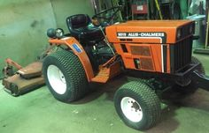 Allis-Chalmers 5015 Tractor with Rear-Mounted Mower Allis Chalmers Tractors, Marketing Jobs, Lawn And Garden, Lawn Mower, Trucks, Vintage, Orange, Outfits, Design