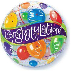 Congratulations Balloons Qualatex Bubble Balloon for sale online Balloon Shop, One Balloon, Bubble Balloons, Foil Balloons, Latex Balloons, Bubbles, Balloon Birthday, Graduation Party Centerpieces, Graduation Party Supplies