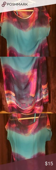 Bison Bisou, dress, only worn 1 time, Powder blue, pink and purple sheer dress with a slip attached, never seen a dryer...Worn once..EUC Bisou Bisou Dresses