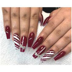 #christmasnails #rednails #candycanenails #nails #coffinnails Instagram @shuey_cortez