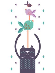 By Mundobu / Source : mundobu Pattern Illustration, Graphic Design Illustration, Watercolor Illustration, Arte Popular, Mundo Animal, Cat Art, Neko, Illustrations Posters, Artwork