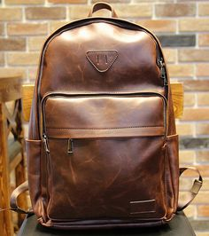 Young Leather Backpack men Leather Backpack women by tianmimi127