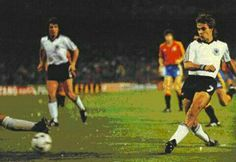 Spain 1 West Germany 2 in 1982 in Madrid. Pierre Litbarski slots the ball home on 50 minutes in Round 2, Group B at the World Cup Finals.