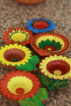 Colored diyas, Rangoli, handmade Diwali cards and tea light candles. Diwali sweets and snacks Diya Decoration Ideas, Diwali Decorations, Festival Decorations, Indian Festival Of Lights, Festival Lights, Indian Festivals, Diwali Food, Diwali Rangoli, Hobbies And Crafts