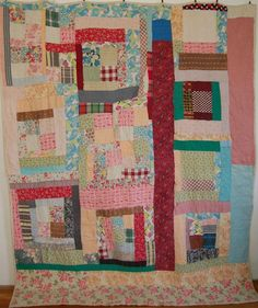 Vintage African American Many Housetops Quilt Old Quilts, Mini Quilts, Vintage Quilts, Vintage Fabrics, Quilting Projects, Quilting Designs, Gees Bend Quilts, Crumb Quilt, African Quilts