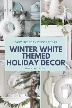 Tips and ideas for decorating in an all white Christmas or holiday theme.  How to decorate a Christmas tree, mantel, staircase railing and more using whites, silvers and soft blues to create a romantic, magical home. #whitechristmas #christmasdecorating #christmastree #christmasdecorideas