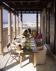 Love the comfy upholstered chairs on the balcony - McAlpine Booth & Ferrier Interiors Beachfront Warmth - McAlpine Booth & Ferrier Interiors Outdoor Rooms, Outdoor Dining, Outdoor Furniture Sets, Outdoor Decor, Fresco, Beach Porch, New Urbanism, Chill, Southern Porches