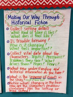 Historical fiction anchor chart.