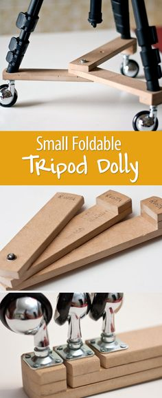 Attention, DIY film makers: There are many commercial tripod dollies on the market, but you can easily make your own with a few wood boards and three wheels.