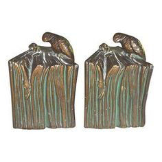 Parrot & Rose on Book Bookends 1928 Pair Parrot, Bookends, Bronze, Nyc, Handmade, Etsy, Vintage, Products, Decor