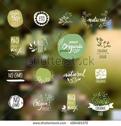 Set of hand drawn style badges and elements for organic food and drink, natural products, restaurant, healthy food market and production, on the nature background. Vector illustrations.