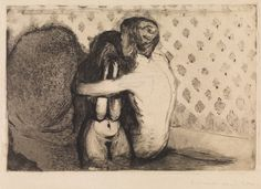 Artwork by Edvard Munch, Consolation, Made of Etching and drypoint printed in black on sturdy cream wove paper Amédéo Modigliani, William Adolphe Bouguereau, Drawn Art, Art Moderne, Fine Art, Klimt, Art Reproductions, Art Inspo, Painting & Drawing