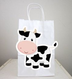 Cow Goody Bags, Cow Favor Bags, Cow Gift Bags, Farm Goody Bags, Farm Animal Goody Bags - Farm Birthd #fiestas Cow Cupcakes, Farm Animal Cupcakes, Farm Animal Party, Farm Animal Birthday, Farm Birthday, Cow Birthday Parties, Birthday Favors, Small Gift Bags, Small Gifts
