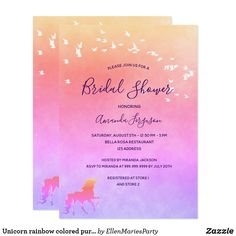 Unicorn rainbow colored purple pink Bridal Shower Invitation