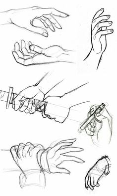Hands, holding, sword, katana; How to Draw Manga/Anime
