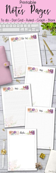 Printable Notes Planner Pages - To do list, Dot Grid, Graph, Ruled, Blank pages with watercolor floral design Printable Planner Pages, Planner Template, Planner Stickers, Printables, To Do Planner, Agenda Planner, Happy Planner, Planner Ideas, Business Diary