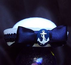 Mini Sassy Sailor Hat In White With Navy Blue Trim And Anchor Detail - Perfect Rockabilly, Cruise or Burlesque Nautical Accessory