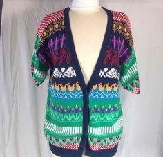 NORTHERN ISLES Spring Sweater Large Short Sleeve Ducks  #NORTHERNISLES #Cardigan