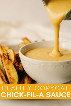 If you love chick-fil-a sauce, but are looking for a healthy alternative that you can make at home, you need this healthy copycat chick-fil-a sauce. This sweet tangy dip is perfect for chicken tenders, french fries and sandwiches. Chick Fil A Sauce, Healthy Cooking, Healthy Recipes, Healthy Food, Ww Recipes, Chicken Recipes, Healthy Eating, Yummy Food, Homemade French Fries