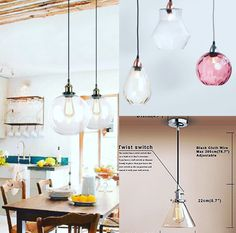 An alternative to bedside lamps or wall lights -wires dropped from the ceiling above so No chasing of walls needed. Equally great over an island or dining table Lamp shades are affordable ran… Diy Kitchen Island, Kitchen Island Lighting, Table Lamp Shades, Wall Lights, Ceiling Lights, Bedside Lamp, Alternative, Dining Table, Home Decor