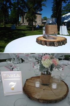 Lovely table settings at an outdoor wedding at Ruthven Park NHS www.ruthvenpark.ca Historical Sites, Table Settings, Rustic, Table Decorations, Weddings, Park, Outdoor, Home Decor, Homemade Home Decor