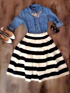 I love the denim and stripes together. The flair of the skirt is different, I would try something like this. #casualskirtoutfits