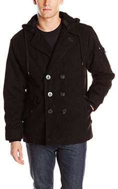 2c49cd9028 Sportier Men s Wool Peacoat with Detachable Fleece Hood
