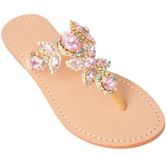 One of our many pink sandal options, but this pair is embellished with multi-colored crystals as well which give it an extra bit of dimension! Hand-Made & Made to Order (2-3 weeks) 100% Leather Sole S