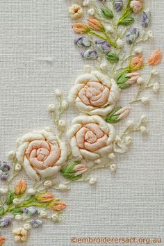 Detail Silk ribbon roses on embroidered heart in Collection: