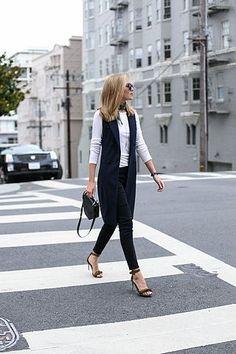 Double-Breasted Vest and Olive Fringe Sandals