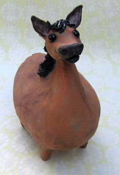 chesnut brown fat ceramic horse fat brown pony by KarenFincannon,